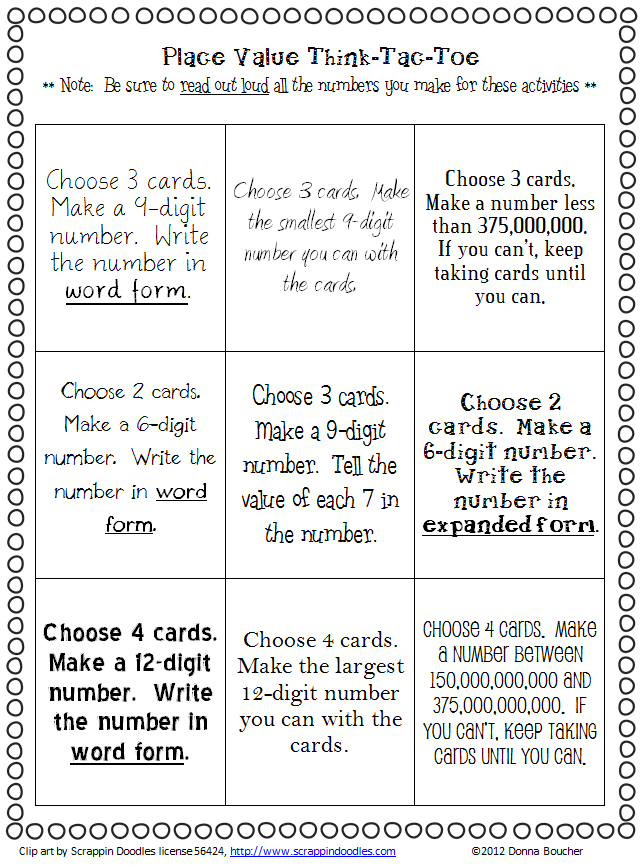 Place Value I Can Cards And Choice Board Math Coachs Corner