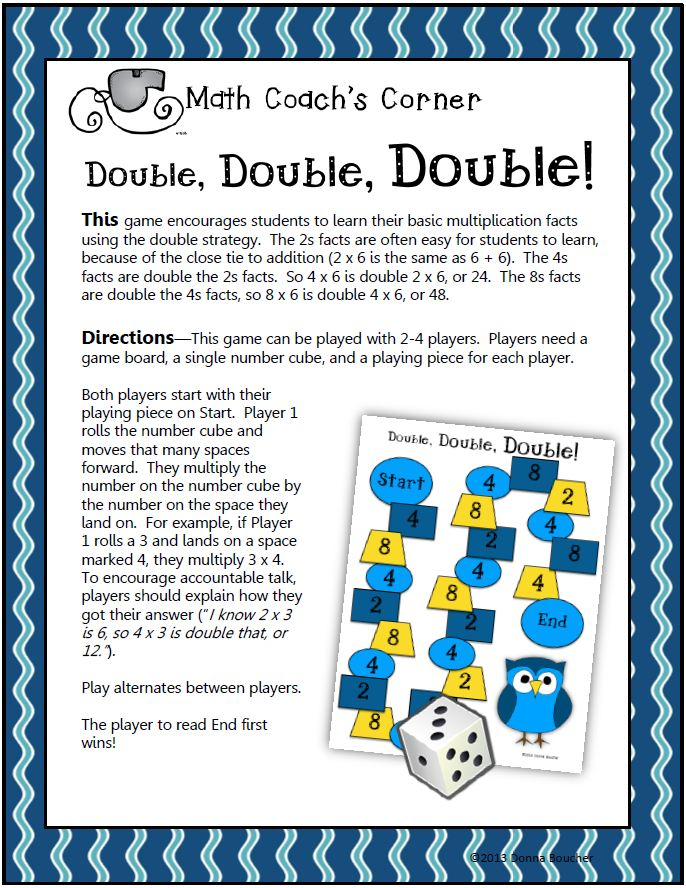 Multiplication Fact Game Math Coach 39 S Corner