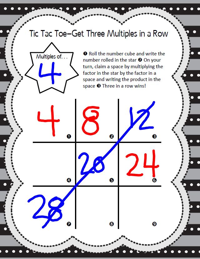 Multiples Tic Tac Toe Game Math Coachs Corner