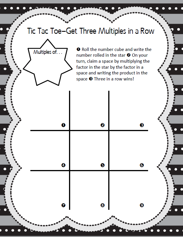 Multiples Tic Tac Toe Game Math Coachs Corner – Tic Tac Toe Math Worksheets