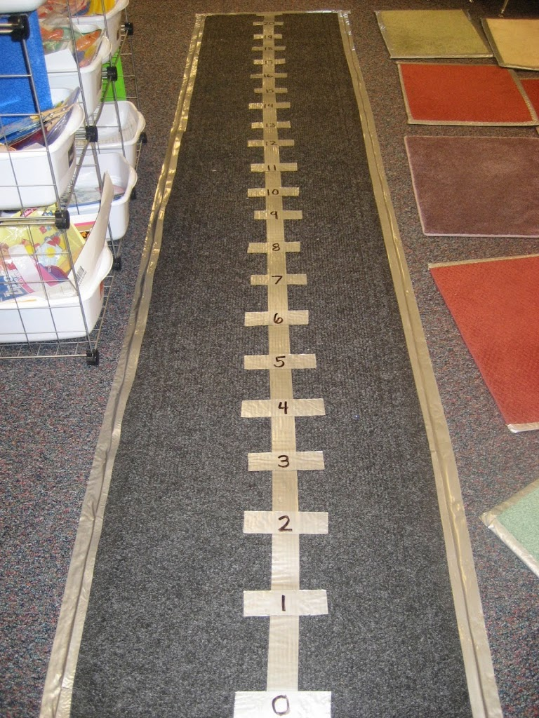 Exploring comparison subtraction with a life sized number for Floor number line