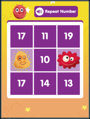 Bingo for Number Recognition to 20