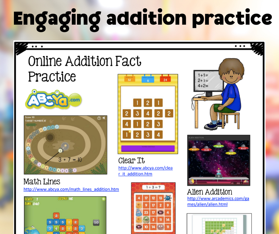 Online Addition Fact Practice