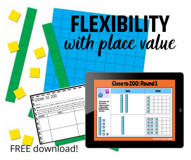Flexibility with place value means that students understanding different ways to decompose numbers