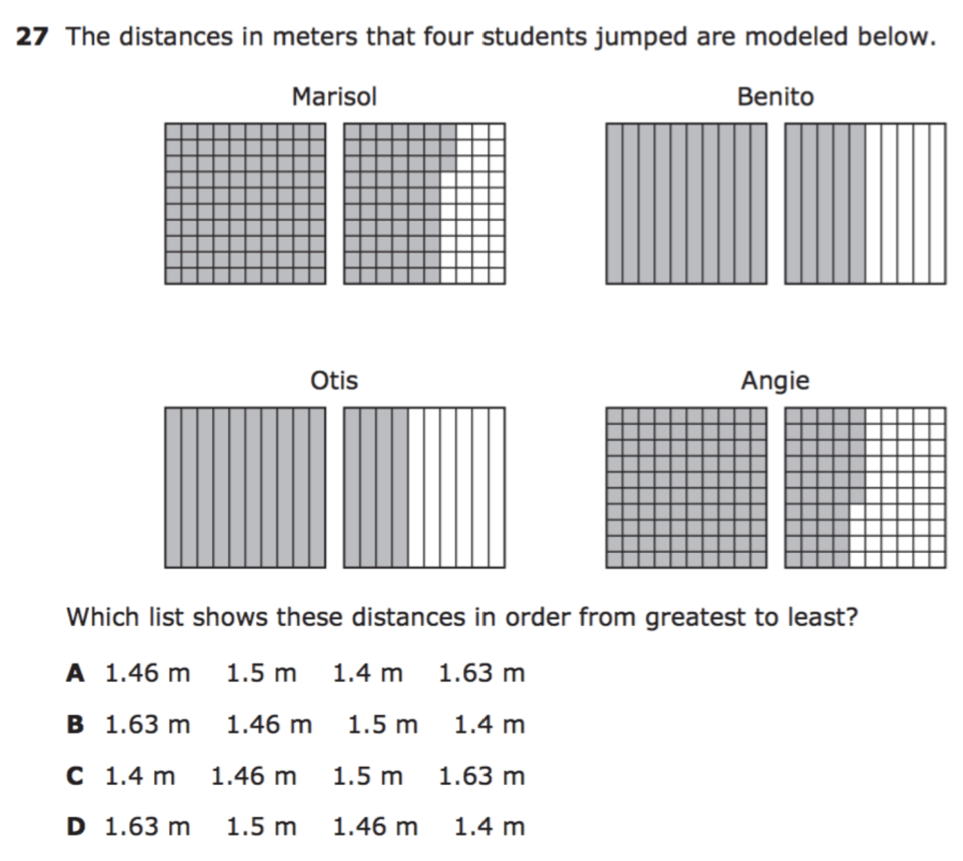 comparing decimals test question with models